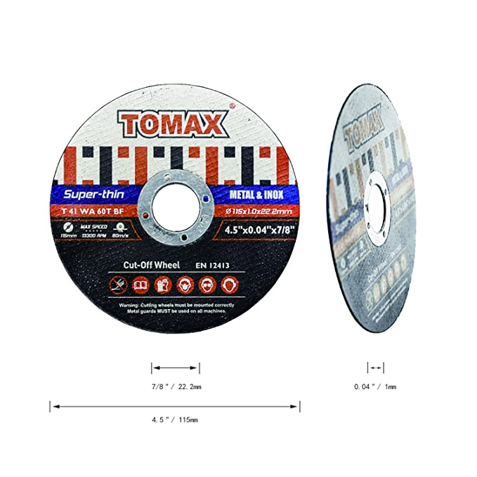 25 Pack Tomax 4-1//2 Inch Premium Thin Cutoff Wheels for Metal Stainless Steel//Inox KTCD1151-25