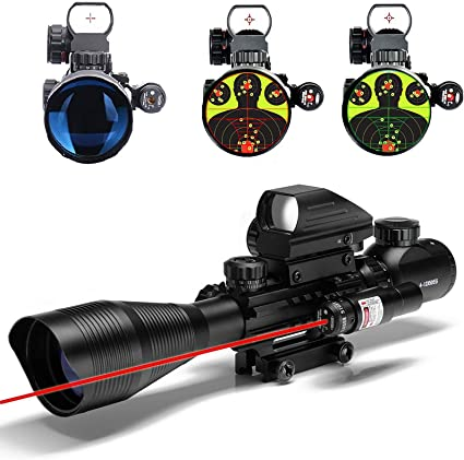 Telescopic 4-12X 50EG Green//Red Hunting Rifle Scope Red Laser Holographic Sight