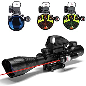 W/RED Laser Sight and 4 Tactical Holographic Dot Reflex Sight