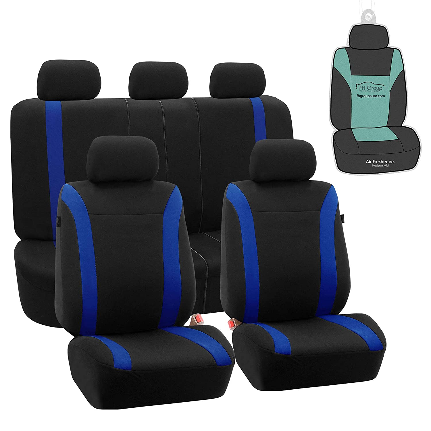 FH Group FB054115 Black Cosmopolitan Flat Cloth Full Set Car Seat Covers, (Airbag Compatible & Split Bench) w Gift, Blue/Black Color -Fit Most Car, Truck, SUV, or Van