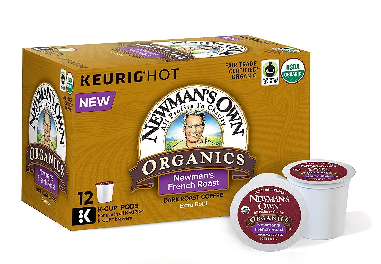 Newman's Own Organics French Roast, Single-Serve Keurig K-Cup Pods, Dark Roast Coffee, 72 Count