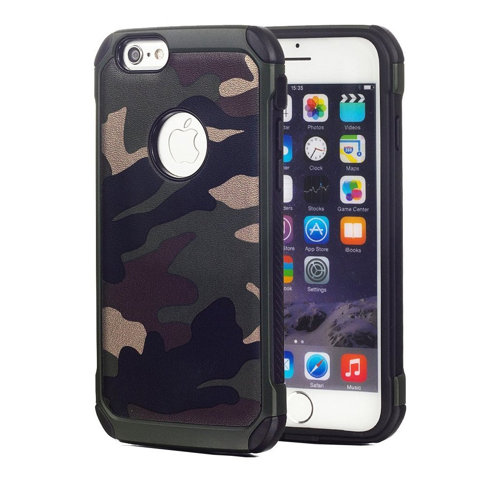iPhone 6 Case Hunter Tree Camo HD [DUAL LAYER DEFENDER] Impact Resistant  [ANTI SHOCK] Hybrid Drop Proof Real Snap-On Cover [2 in 1] [HARD PC + TPU]