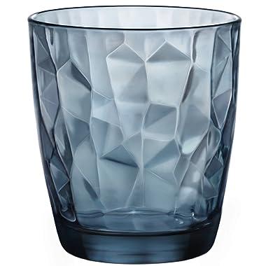 Bormioli Rocco Diamond 13.25 oz. Double Old Fashioned Glass, Ocean Blue, Set of 6