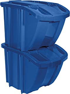 product image for Suncast Bin Kit Stackable Organizer-Front Flap for Dry Storage Stores All Kinds of Recyclables, Blue