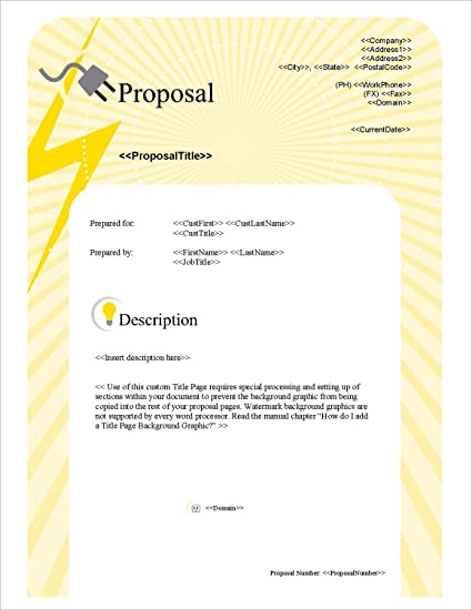 Amazon Com Proposal Pack Electrical 1 Business Proposals