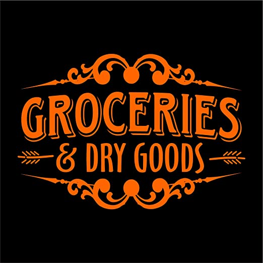 Amazon Com Groceries Dry Goods Wall Decal Pantry Kitchen Decor Vinyl Decal Wall Art Kitchen Decal Multiple Sizes And Colors Die Cut No Background Orange 20 Wide Kitchen Dining