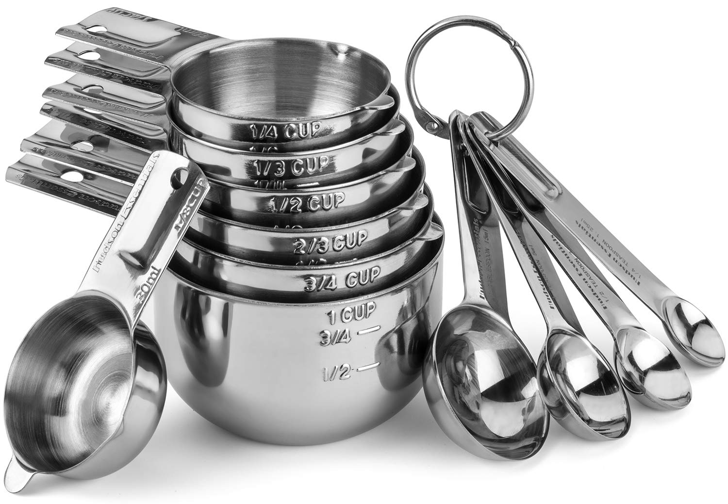 Hudson Essentials Stainless Steel Measuring Cups and Spoons Set - Stackable Set with Spout (11 Piece Set)