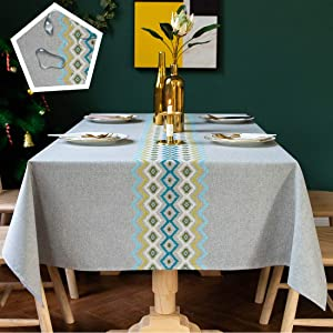 TEWENE Table Cloth, Waterproof Tablecloth Wrinkle Free Spill-Proof Cotton Linen Rectangle Tablecloth Wipeable Tableclothes for Dining Party (Rectangle/Oblong, 55''x120'',10-12 Seats, Grey)