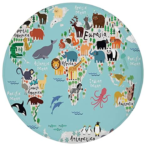 Amazon round rug mat carpetkidseducational world map africa round rug mat carpetkidseducational world map africa camel america lama alligator ocean gumiabroncs Images
