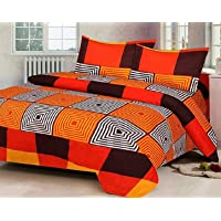 RS Home Furnishing Glace Cotton King Size 1 Double Bedsheet with 2 Pillow Cover