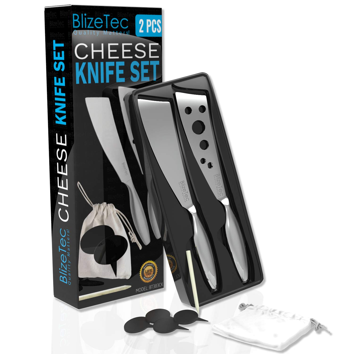 Cheese Knife Set: BlizeTec 2 Pcs Multipurpose Butter, Fruit and Dessert Knives with 4 Slate Markers, 1 Soapstone Chalk and 1 Gift Bag by BlizeTec