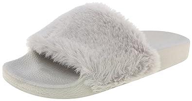 992194bc546 Top Moda Pillow 1 Women Faux Fur Softy Slip On Slider Sandals