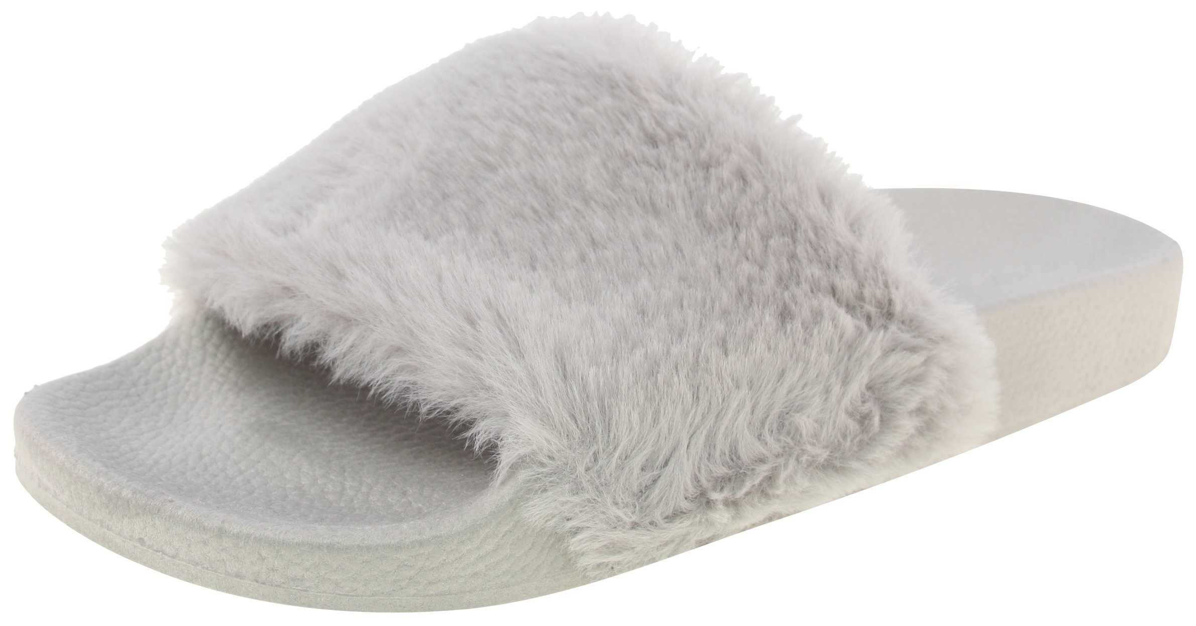 Top Moda Pillow 1 Women Faux Fur Softy Slip On Slider Sandals,Grey,6.5