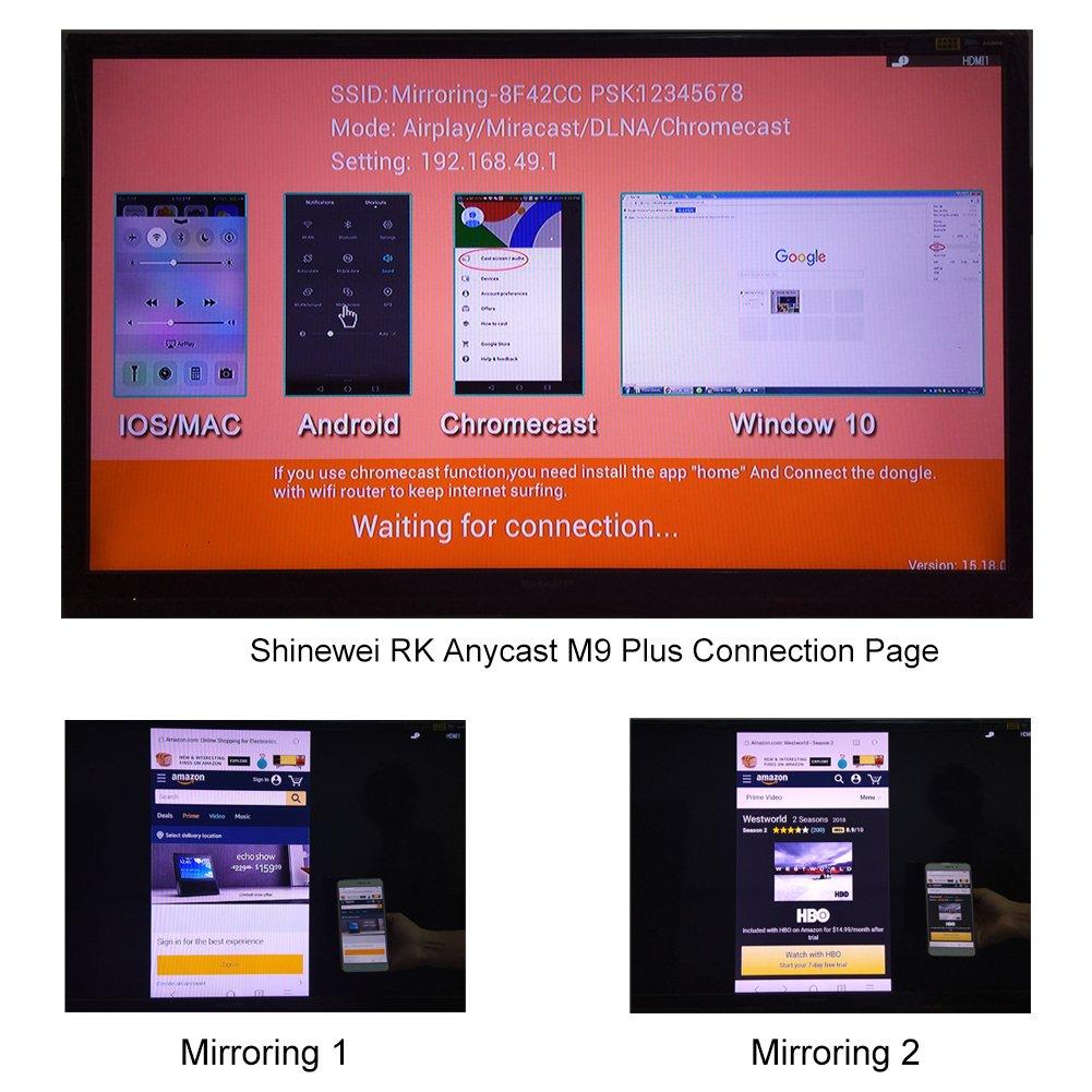 Wireless Display Dongle, RK Anycast M9 Plus HD1080p WiFi