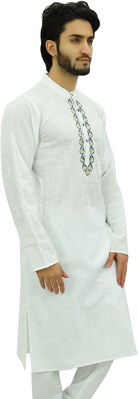 Atasi Mens Plain White Polyester Long Shirt Festive Summer Casual Kurta