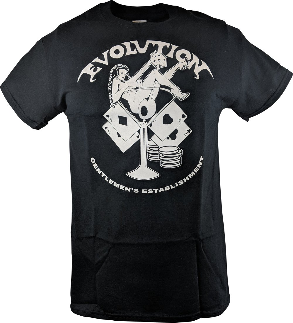 Hybrid Tees Evolution Pay to Play T-Shirt Randy Orton Batista Triple H RIC Flair-S