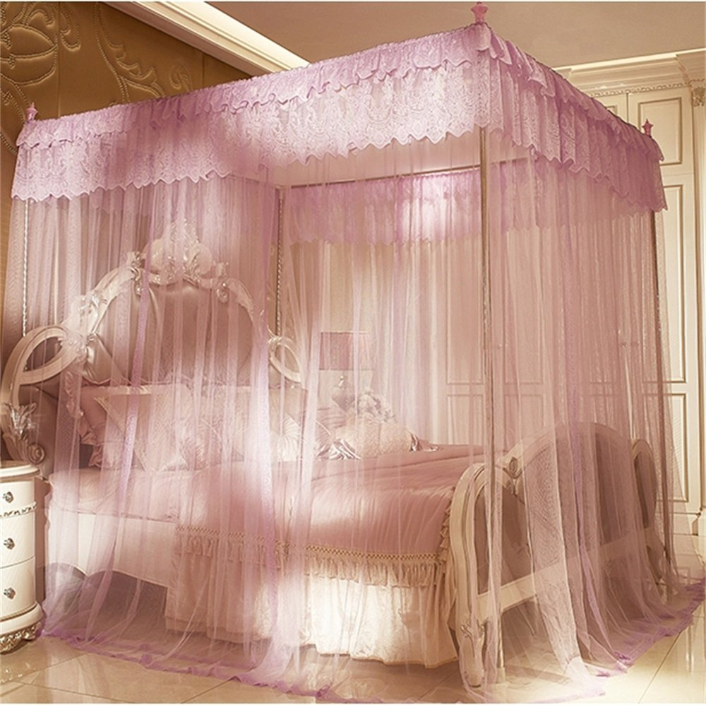 Royal- European style Square Top mosquito net Three-door Encryption Double bed Princess style stainless steel bracket purple ( Color : 1.8m (6 Feet) Bed , Size : Diameter 32mm )