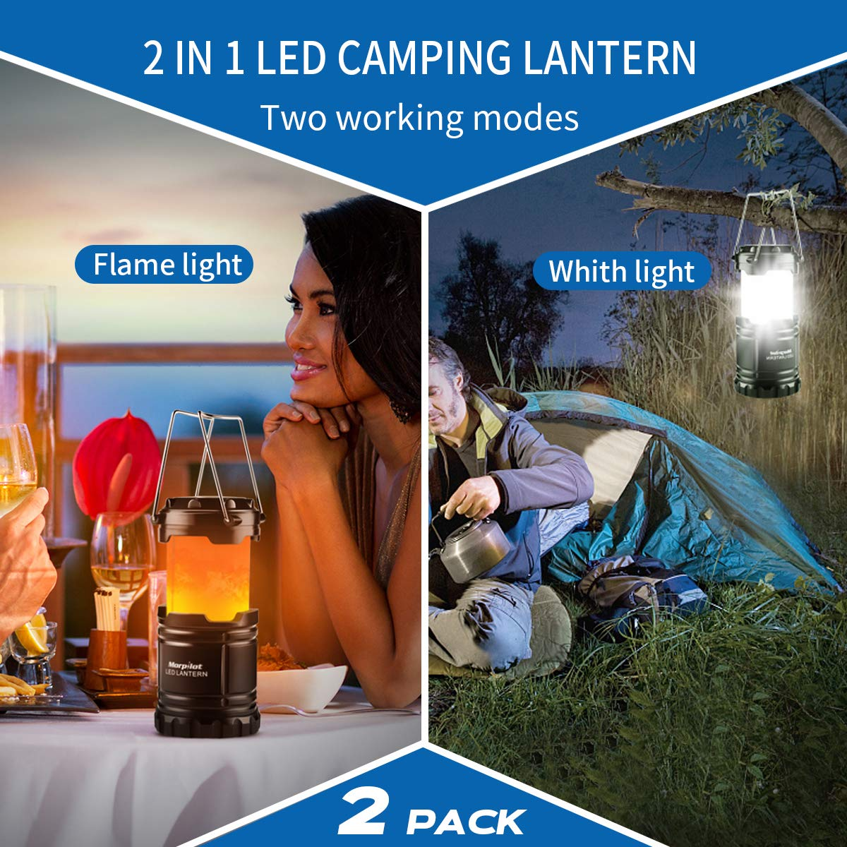 Morpilot Lampada Campeggio LED [ 2 Pezzi ] Pieghevole 2 Modalità Lampada da Comodino Impermeabile e Portatile Luce Emergenza per Escursione, Pesca, Campeggio e Emergenze(AA Batterie Incluse)