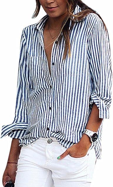 QIYUN.Z Blusa A Rayas De Manga Larga De Las Mujeres Camisas Casuales: Amazon.es: Ropa y accesorios