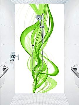 Mampara de ducha de aluminio compuesta como placa individual o juego de placas para ducha de esquina corte a medida – Diseño Vibeline B – Naranja, 1 placa, 90 x 200 cm: