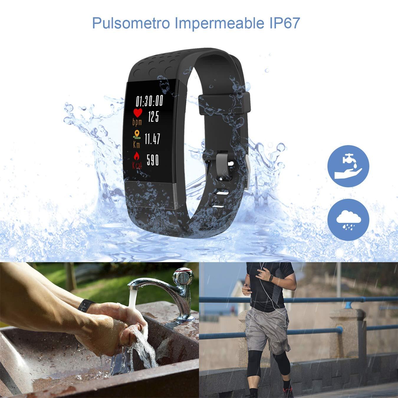 Pulsera de Actividad Inteligente con Pantalla OLED, Impermeable IP67, Reloj Inteligente con Pulsómetro, Calorías, Sueño, Podómetro, Captura de Cámara, ...
