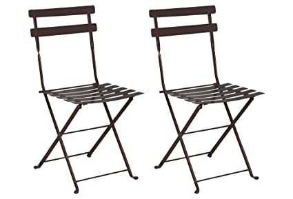 Miraculous Mobel Designhaus French Cafe Bistro Folding Side Chair Jet Black Frame Steel Metal Slats Pack Of 2 Beatyapartments Chair Design Images Beatyapartmentscom
