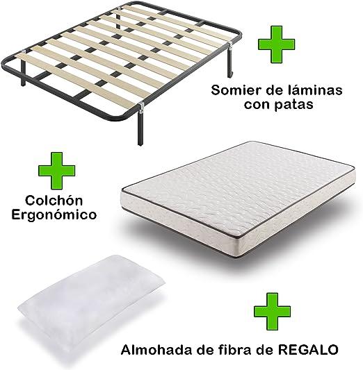 Pack Colchón eco18 + somier Basic con Patas + Almohada de Regalo 80x190: Amazon.es: Hogar