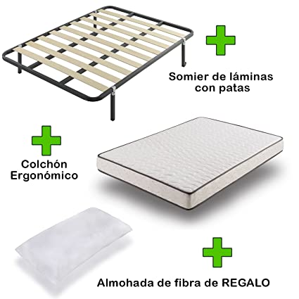 Due-home Pack Colchón eco18 + somier Basic con Patas + Almohada de Regalo 150x190