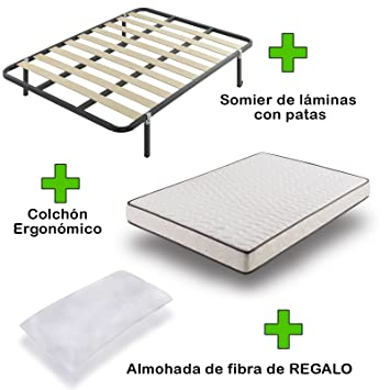 Due-home Pack Colchón eco18 + somier Basic con Patas + Almohada de Regalo 150x190: Amazon.es: Hogar