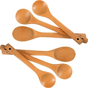 Leinuosen 6 Pieces Bamboo Spoon Kitchen Cooking Utensil Long Bamboo Wood Spoons Set (12 Inch, 10 Inch)