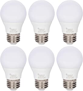 Simba Lighting LED A15 Refrigerator Light Bulbs (6-Pack) 4W 40W Replacement Small for Appliances, Freezers, Ceiling Fans, 120V, E26 Standard Medium Base, Frosted Cover, Not Dimmable, 3000K Soft White