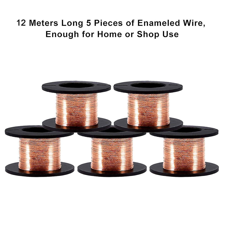 5 Rollos de 0.1 mm en Diámetro Cobre Alambre esmaltado Alambre de cobre esmaltado Alambre de reparación 15m en longitud, Natural
