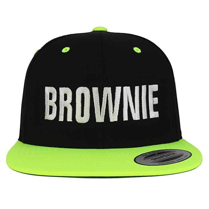 0244c92214849 Trendy Apparel Shop Brownie White Embroidered Flat Bill 2-Tone Ball Cap - Black  Green