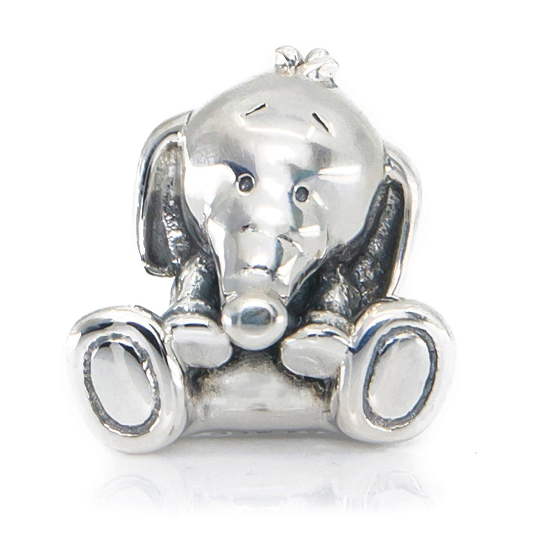 Amazon.com: Cute Baby Elephant Sterling Silver Charm Bead S925 ...