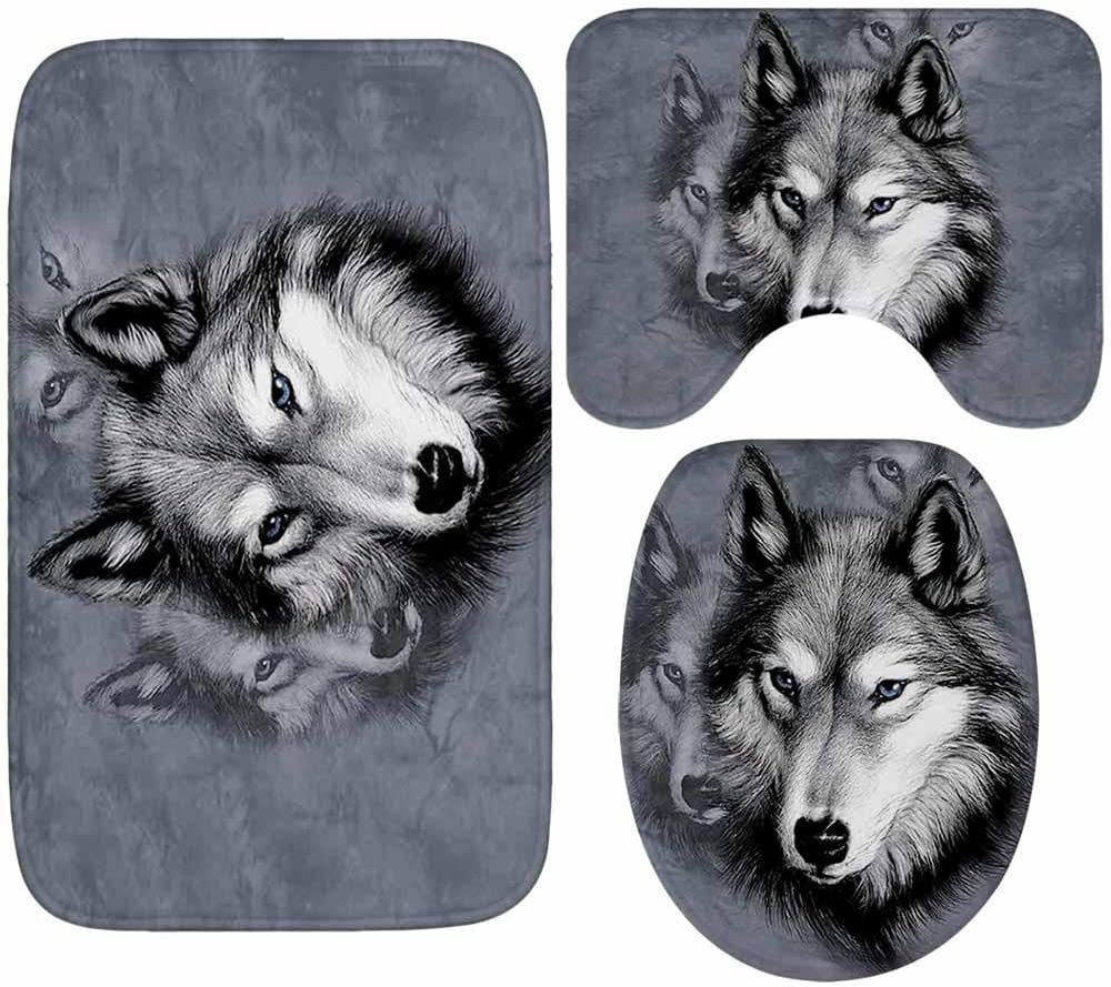 QJIAXING Bathroom Mats 3 Piece Flannel Absorbent Non large three piece set Slip Carpet Toilet Cover Pad Home Decoration birch forest wolf ground mat