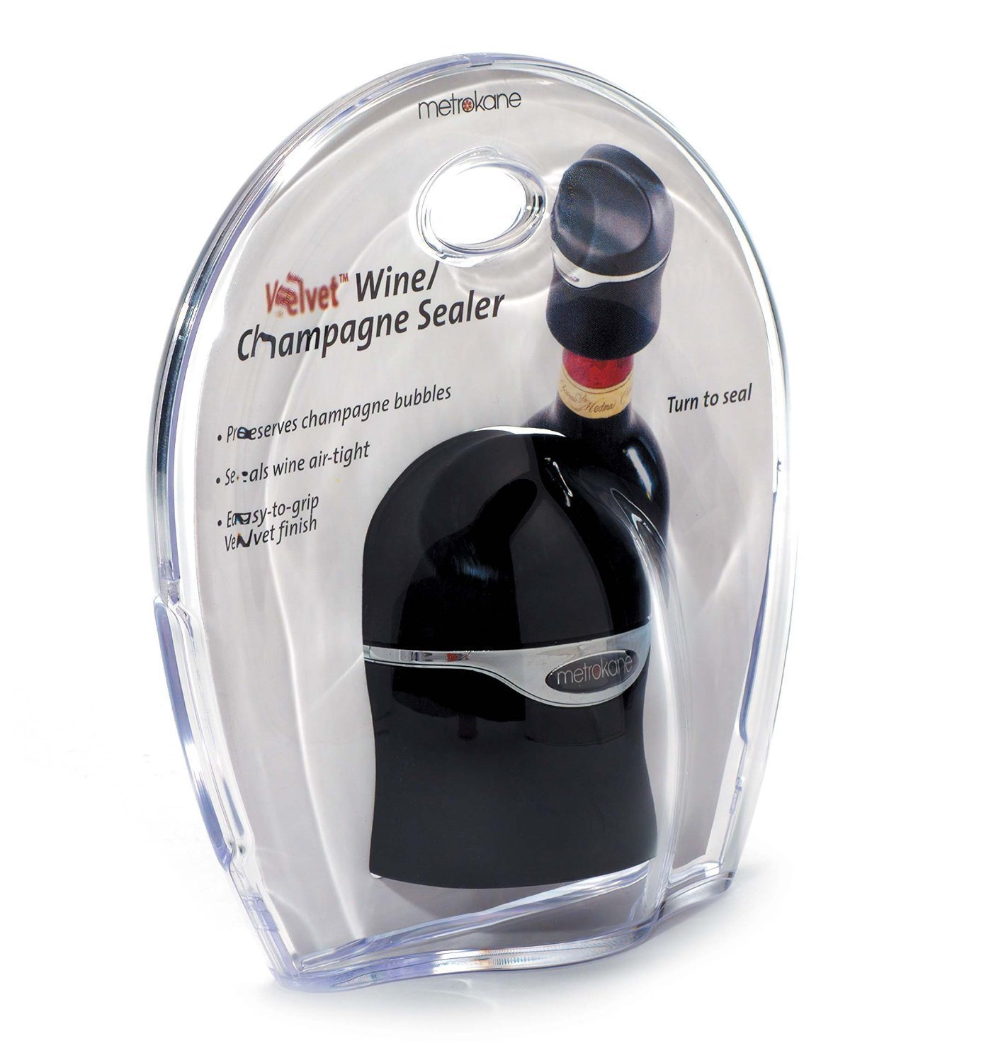 Metrokane Velvet Champagne and Wine Sealer, 5-Pack