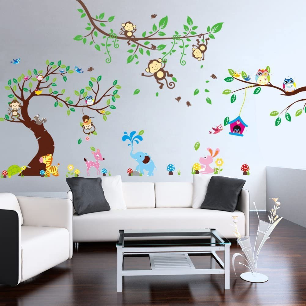 1214-1205-1017 Rainbow Fox Wandtattoo Wandsticker Eule Baum Giraffe L?we Kinderzimmer Baby