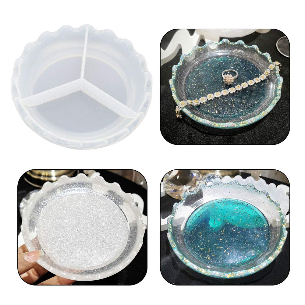 Dish Resin Mold, Jewelry Resin Silicone Mold Dishes Plate Container Model Making Casting Mold Jewelry Craft Mould Tool (Flower Round)