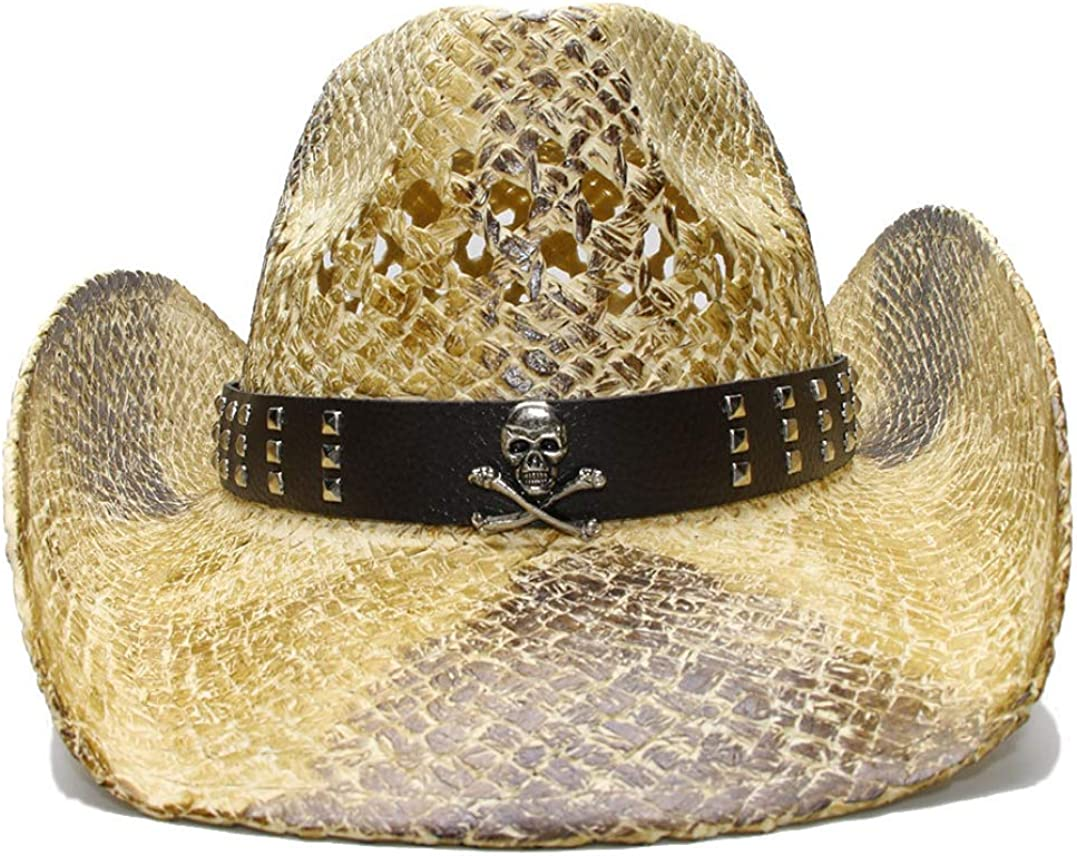 Straw Western Cowboy Hat Hollow Out Vintage Wide Brim Beach Sun Hat with Leather Band