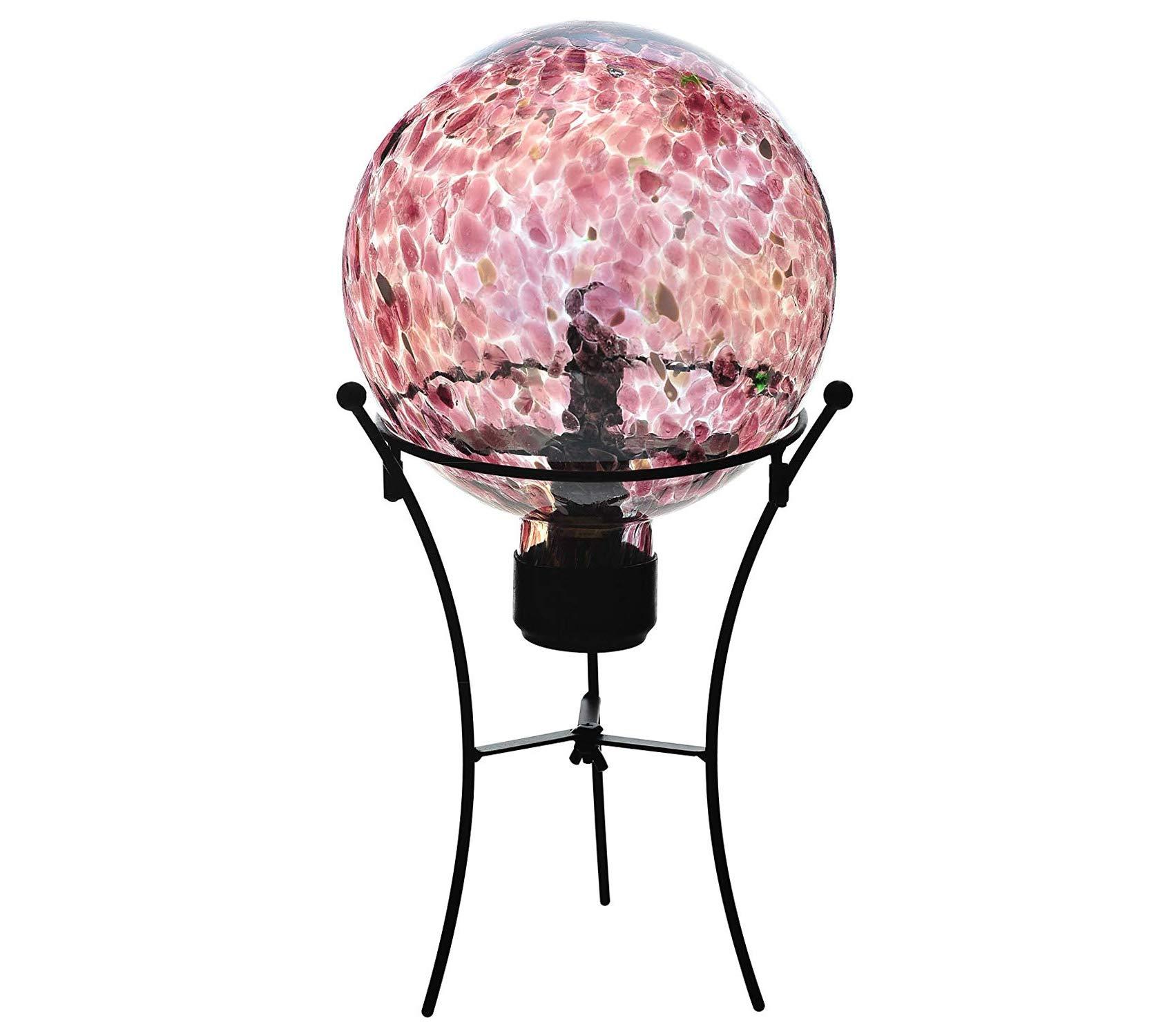 Outdoor Garden Backyard Décor Purple Glass Solar Gazing Ball LED Insert and Wire St, 8 Inch