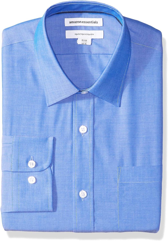 Essentials Mens Regular-Fit Wrinkle-Resistant Long-Sleeve Solid Dress Shirt