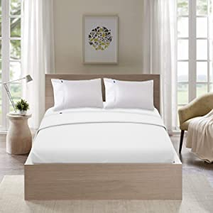 MARQUESS King Lightweight Cooling Elegant 4 Piece Sheets, Quick-Dry, Super Soft Breathable Easy Care Microfiber Bed Sheet Set, Smooth Luxurious Deep Pocket Bedding for Summer (White,King)