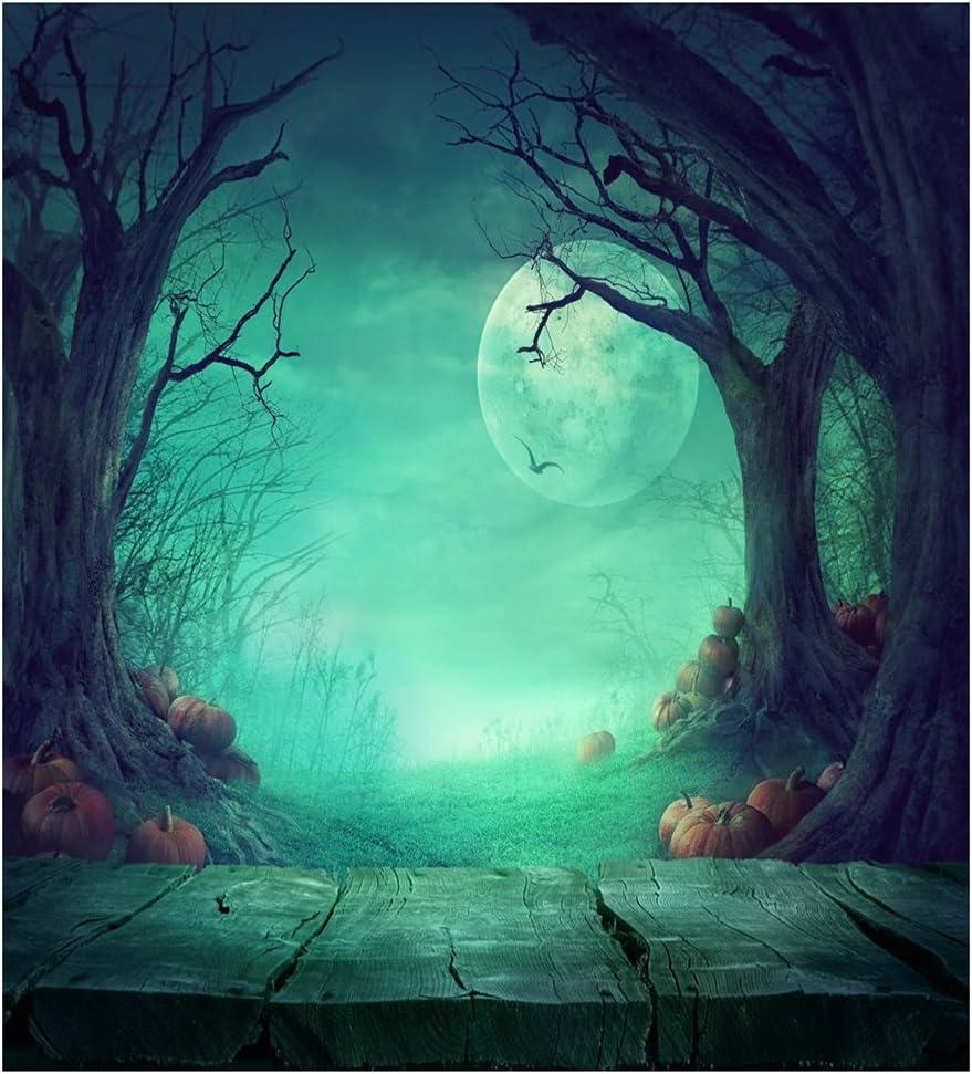 EVERYDI Fairy Tale Photography Backdrops Halloween Wood Floor Photo Backdrop Moon Ghost Tree Pumpkin Wood Floor Halloween Background F