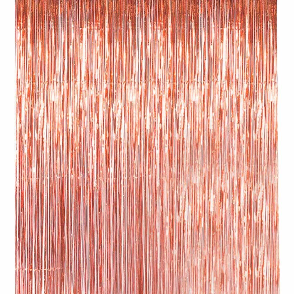 Havenport 3 Packs 3.3 ft x 6.6 ft Metallic Gold Tinsel Foil Fringe Curtains for Party Photo Backdrop Wedding Birthday Decor(5 pack Rose gold)