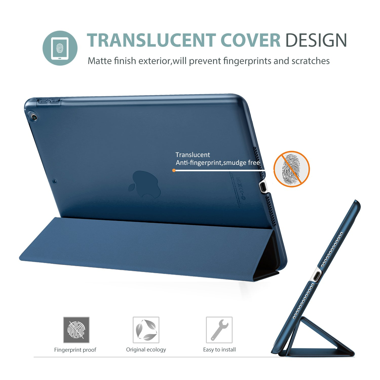 ProCase iPad 9.7 Case 2018 iPad 6th Generation Case / 2017 iPad 5th Generation Case - Ultra Slim Lightweight Stand Case with Translucent Frosted Back Smart Cover for Apple iPad 9.7 Inch -Navy Blue by ProCase (Image #3)