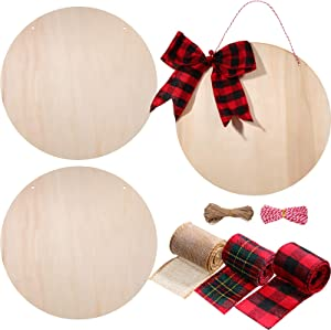 3 Pieces 12 Inch Christmas Unfinished Wooden Circle Wood Round Blank Cutouts Slices for Craft Painting, Door Hanger