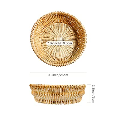 Bread Serving Basket with Removable Liner Wicker Bowls Woven Fruit Basket Made of Natural Willow Round Wicker Baskets Serving Baskets for Table