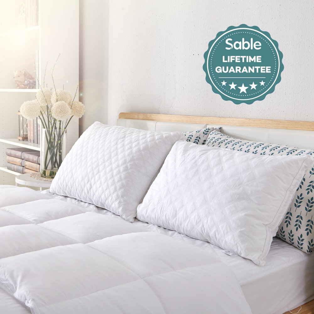Sable Goose Down Bed Pillows for Sleeping