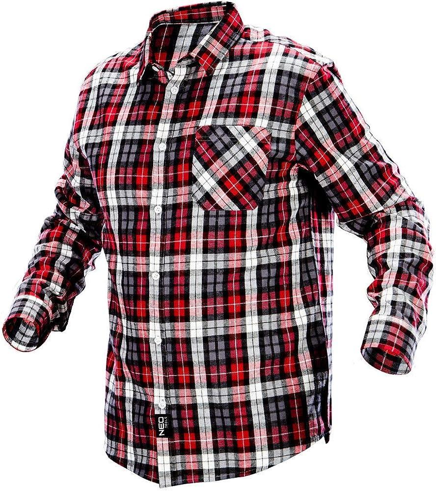 Neo Tools - Camisa de Trabajo de Franela, Camisa de leña, Camisa a Cuadros, Multicolor, S-XXL Rojo/Blanco S: Amazon.es: Ropa y accesorios