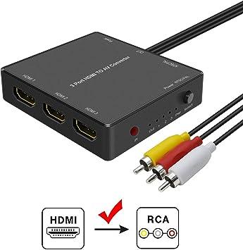 Adaptador HDMI a AV, HDMI a RCA, para TV Antigua, Compatible con Fire Stick, Roku Streaming Sticks, Xbox One, Apple TV, PC, Reproductores de DVD: Amazon.es: Electrónica